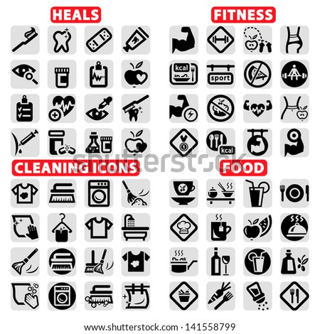 Elegant Vector Fitness, Health, Food And Cleaning Icons Set. - stock vector