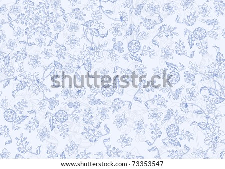 elegant vector floral texture in pale blue colors - stock vector