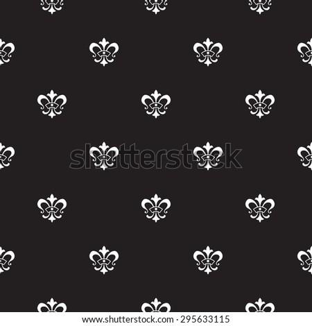 Elegant vector seamless pattern design with lis de fleur symbols - stock vector