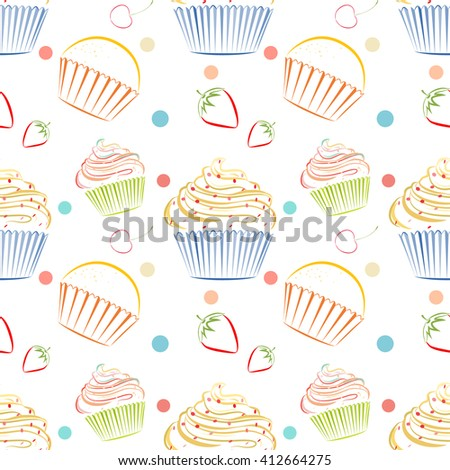 Elegant Vector Seamless Pattern With Different Cupcakes. Unique Doodle  Style Line Drawing Food Background With