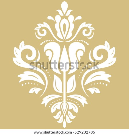 Elegant vector white ornament in classic style. Abstract traditional pattern with oriental elements, Classic vintage pattern.