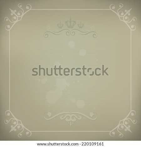 Elegant Victorian Style Vintage Framed Background - stock vector