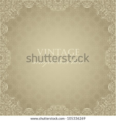Elegant vintage card on seamless background with pastel colors - stock vector