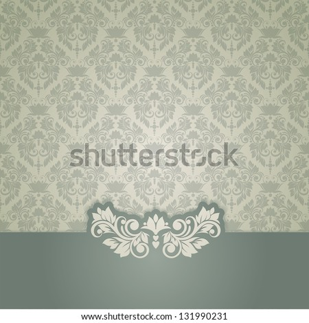 Elegant vintage card with damask seamless background (background - stock vector