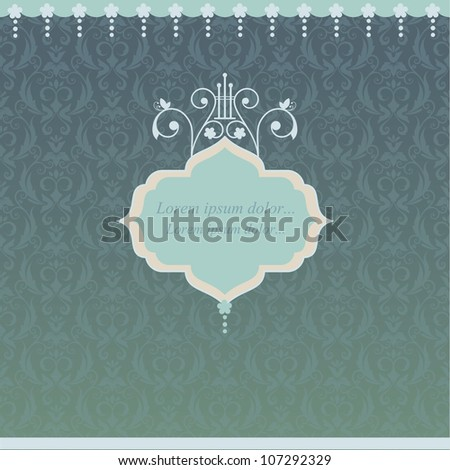 Elegant vintage card with damask seamless background (background behind the panel is complete). Retro frame. - stock vector