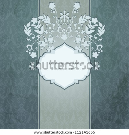 Elegant vintage card with damask seamless background (background behind the panel is complete). - stock vector