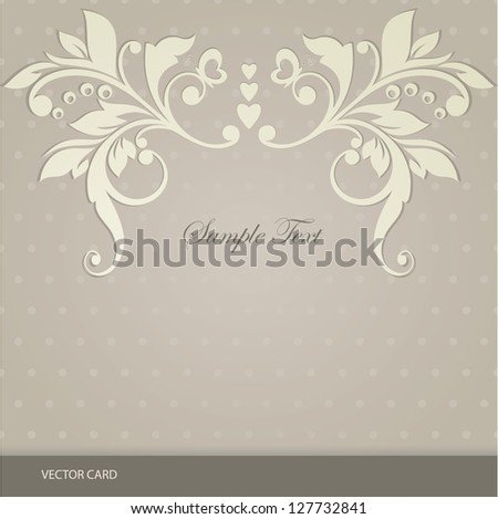 Elegant vintage card  with floral design.