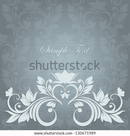Elegant vintage card with floral seamless background (background behind the panel is complete). Invitation card for wedding. - stock vector