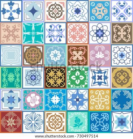 Elegant Vintage Ceramic Tiles Glazed Ceramic Stock Vector 730497514 ...