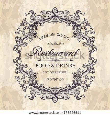 Elegant vintage frame for restaurant menu design