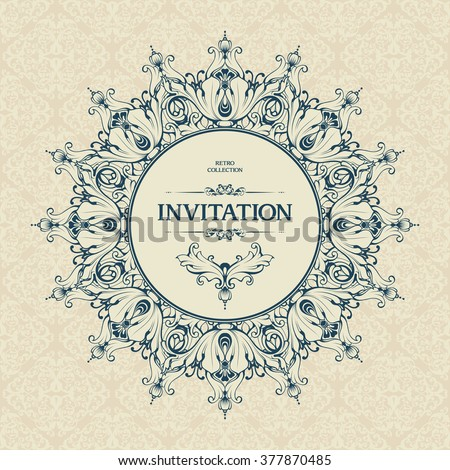 Elegant vintage ornamental background with a round frame and decorative design elements. Victorian retro ornament vector template for party invitation, wedding invitation, greeting card, banner
