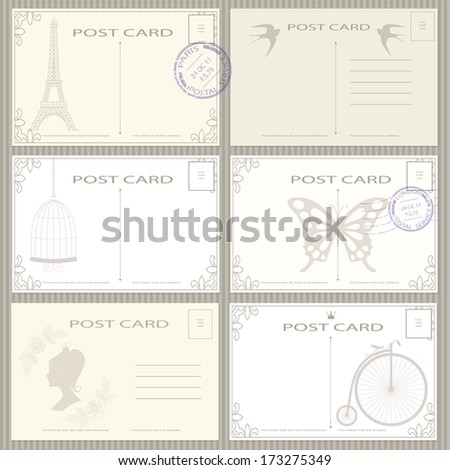 Elegant vintage post card and postage stamps vector set. - stock vector