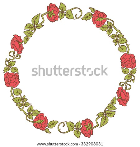 Elegant vintage round frame with roses and leaves elements. Vector decorative floral border - stock vector