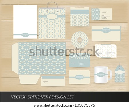 Elegant vintage stationery design set - stock vector
