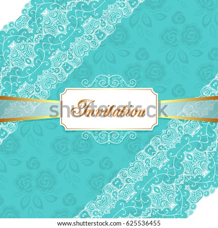 Elegant vintage wedding or birthday invitation template with lace corners. Vector Illustration
