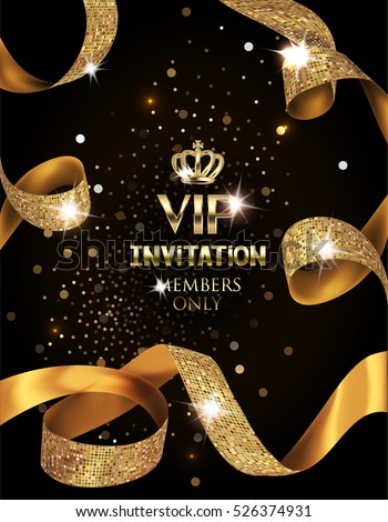 Elegant VIP invitation card with silk textured curled gold ribbons