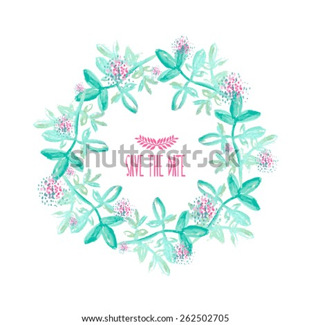 Elegant watercolor floral frame with abstract leaves and flowers, design elements. Can be used for wedding, baby shower, mothers day, valentines day, birthday cards, invitations - stock vector
