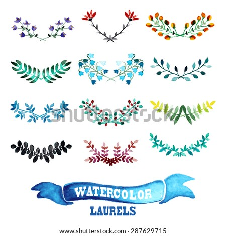 Elegant watercolor laurels set, design elements. Can be used for wedding, baby shower, mothers day, valentines day, birthday cards, invitations. Watercolor branches - stock vector