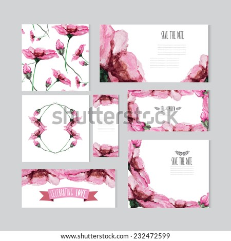 Elegant watercolor pink floral cards, design elements. Can be used for wedding, baby shower, mothers day, valentines day, birthday cards, invitations, banners, flyers, gift wrap, print, manufacturing - stock vector