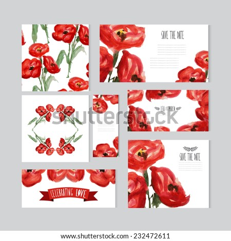 Elegant watercolor red poppies cards, design elements. Can be used for wedding, baby shower, mothers day, valentines day, birthday cards, invitations, banners, flyers, gift wrap, print, manufacturing - stock vector