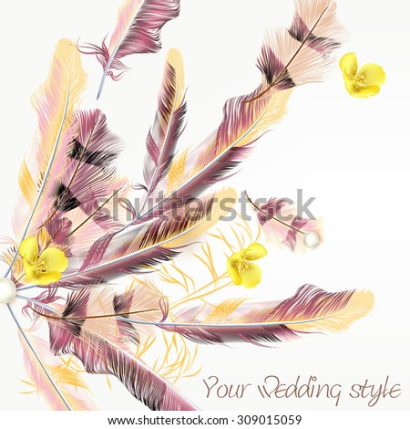 Elegant wedding background with pink feathers - stock vector