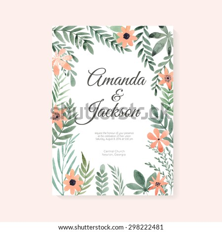 Elegant wedding card design with handpainted watercolor flowers. Artistic floral summer or spring bridal design. 