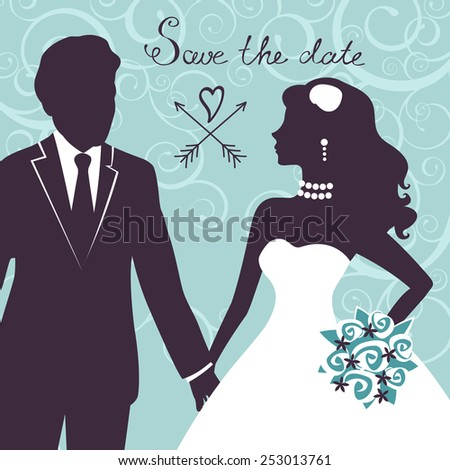 Elegant wedding couple in silhouette. Save the date card  in vector format - stock vector