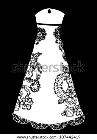 elegant wedding gown - stock vector