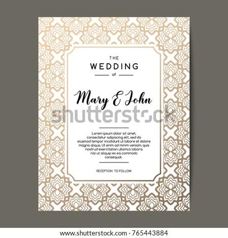 Elegant wedding invitation background card design stock vector elegant wedding invitation background card design with gold floral ornament vector decorative template stopboris Image collections
