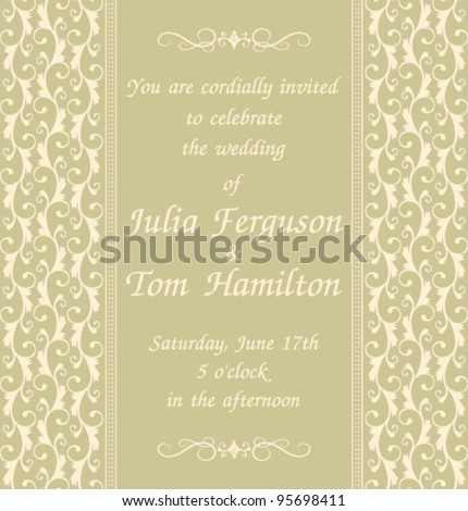 Elegant wedding invitation template in green. Background, decoration and text are grouped and placed on separate layers for easy editing. - stock vector