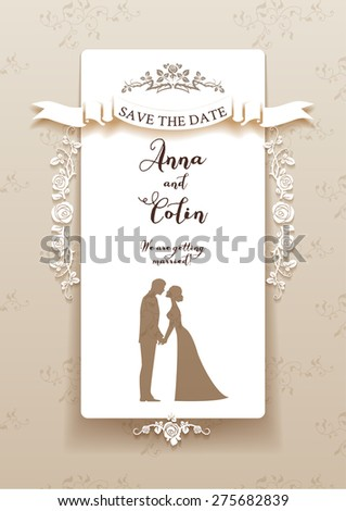 Elegant wedding invitation with bride and groom. Holiday design for leaflet, cards, invitation and so on. Place for text. - stock vector