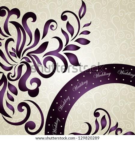 Elegant wedding Invitation with floral swirls design - stock vector