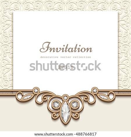 Elegant wedding invitation jewelry diamond decoration stock vector elegant wedding invitation with jewelry diamond decoration vintage save the date or greeting card template junglespirit Choice Image