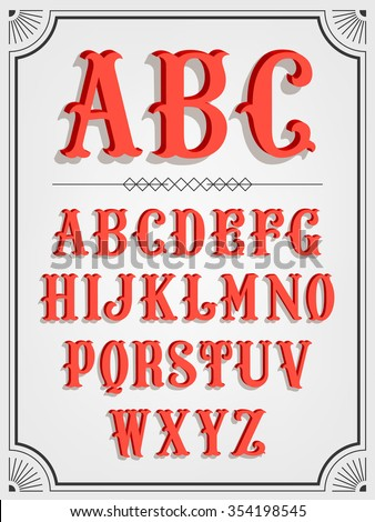 Elegant western slab serif signboard 3D font red letters collection   Cool retro vector volumetric alphabet characters with shadows on light background - stock vector