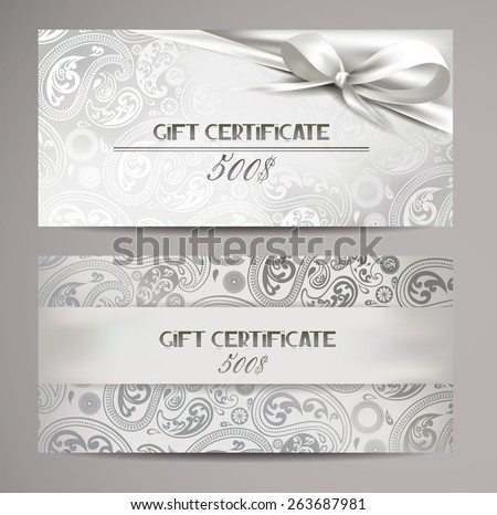 Elegant white gift certificates with floral design - stock vector