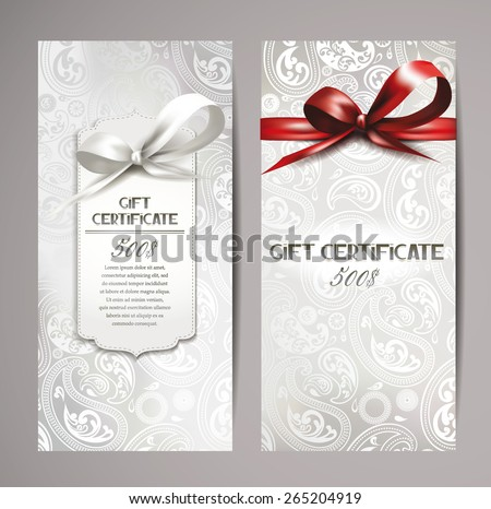 Elegant white gift certificates with silk ribbons and floral design - stock vector