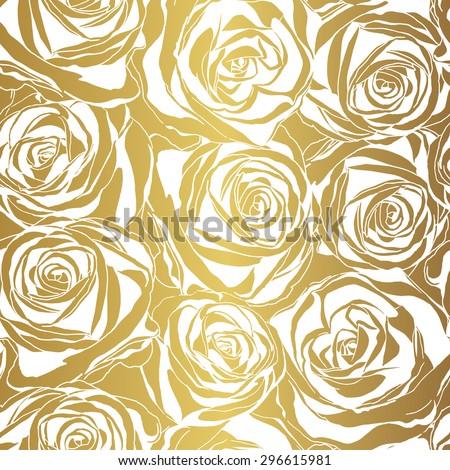 Elegant white rose pattern on gold background. Vector illustration.  - stock vector