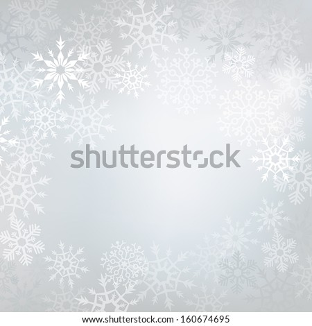 Elegant winter background made of snowflakes with blank space for your text - stock vector
