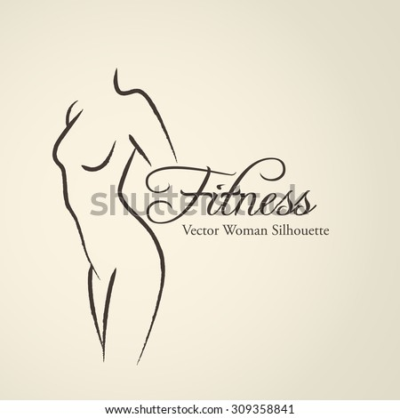 Elegant woman silhouette (emblem) in a linear sketch style. Intimate Hygiene, woman health, Skin and body care, diet, fitness - stock vector