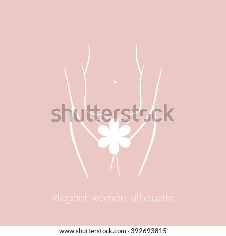 Elegant woman silhouette for intimate hygiene, woman health, skin and body care, diet, fitness etc.  - stock vector