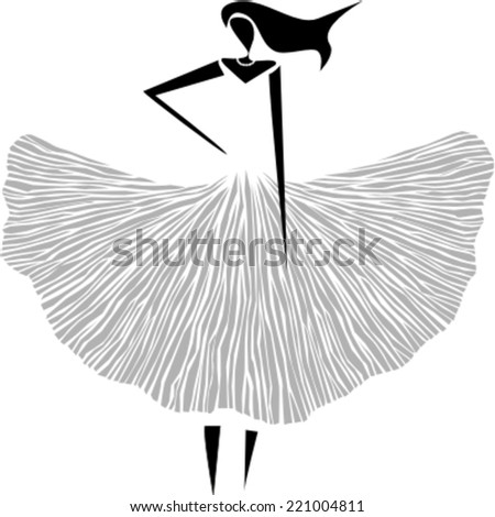 Elegant woman silhouette in vintage dress - stock vector
