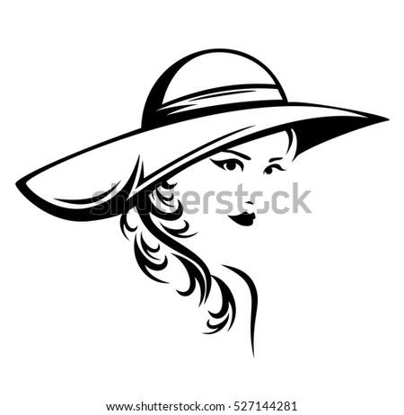 elegant woman wearing hat vector illustration - black and white stylized portrait of a beautiful girl with long hair.