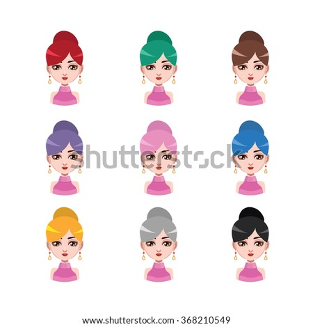 Elegant woman with earrings - 9 different hair colors ( flat colors )