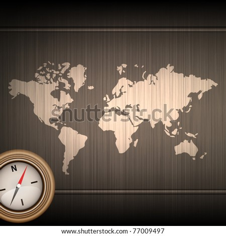 Elegant world map background with compass