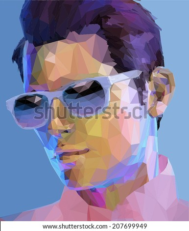 Elegant young handsome man wearing sunglasses, low poly abstract fashion portrait - stock vector