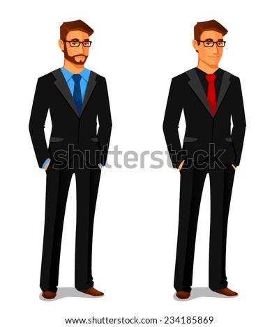 elegant young man in business suit - stock vector