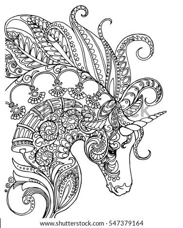 Elegant Zentangle Patterned Unicorn Doodle Page Stock