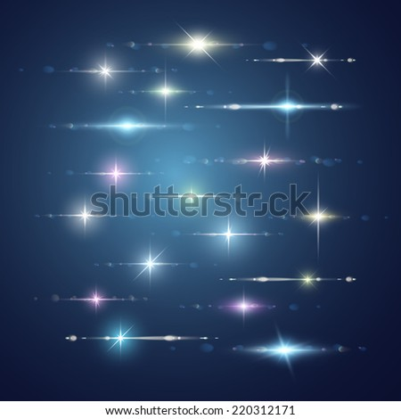 Element blue light with lens effect set. - stock vector