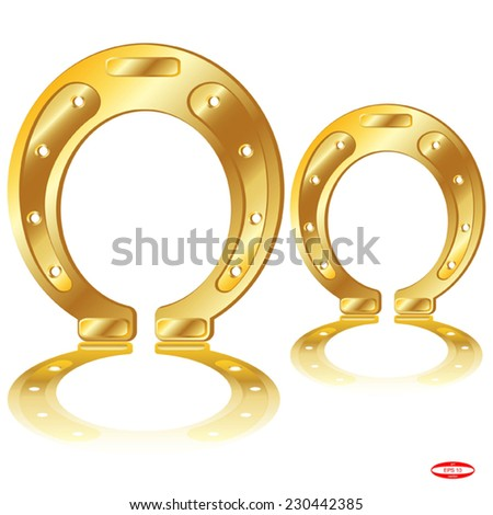 element design golden horseshoe with reflection isolated on white background vector