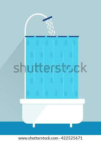 element for bathroom interior, shower, bathtub, curtain, flat icon design. Set - stock vector